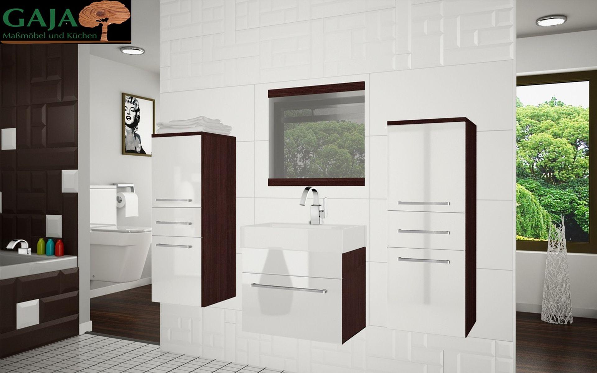 Badezimmermöbel Woody 3 / Weiß Hochglanz -Kastanie