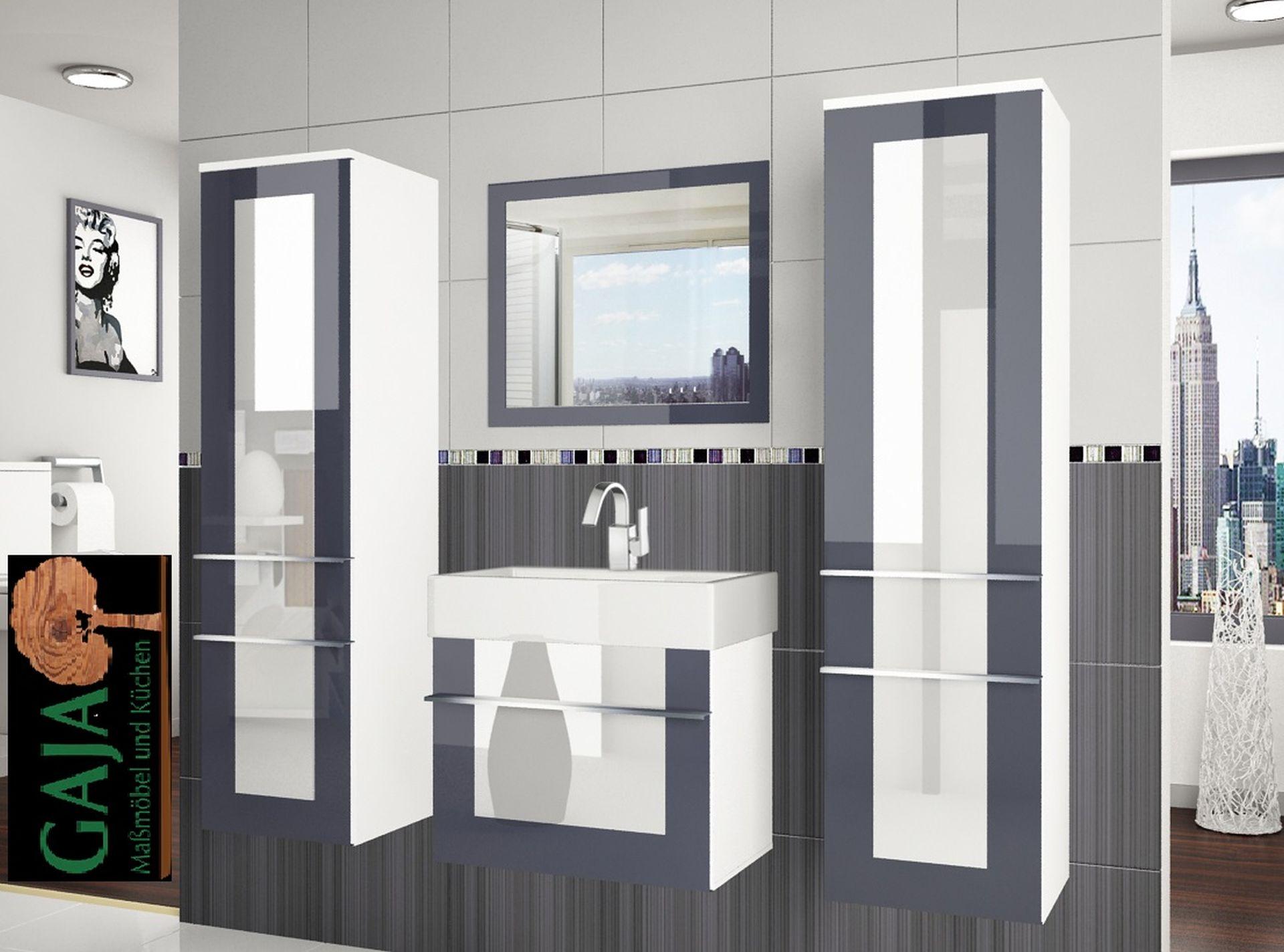 Badezimmermöbel Set Eleganza 5 / Grau-Weiß