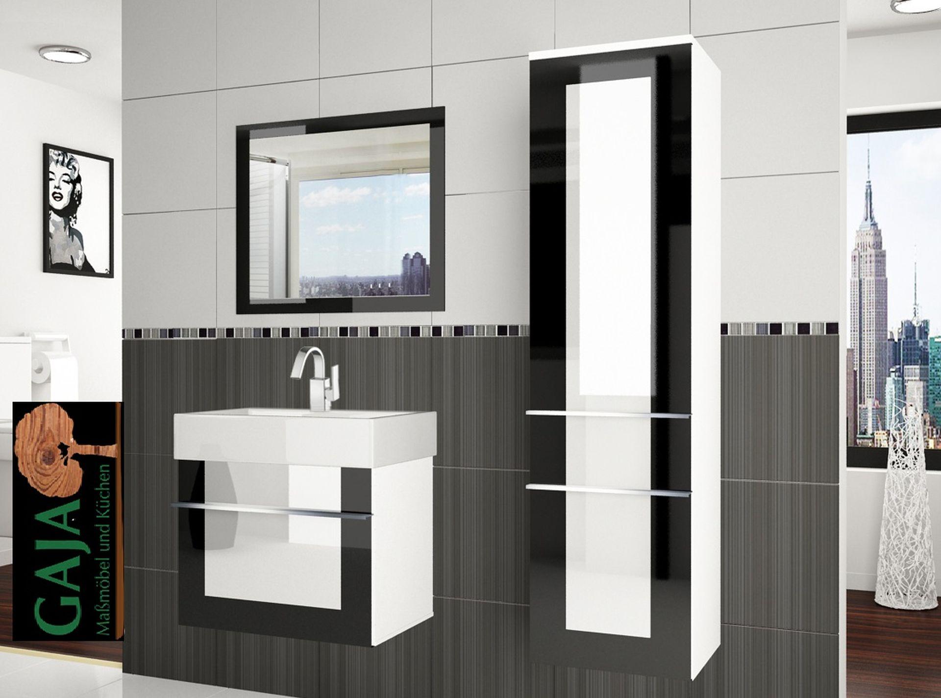 Badezimmermöbel Set Eleganza 2 / Schwarz-Weiß